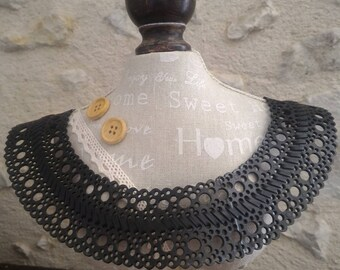 Peter Pan collar or bib necklace in recycled bicycle inner - Made in Morocco
