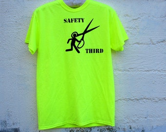 Neon Running with Scissors SAFETY THIRD tshirt -  Mens Neon Yellow tee Safety Green Safety 3rd shirt Stick Man Runs Burning man Big Tall
