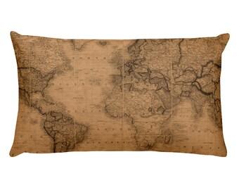 Old Map pillow, Nautical pillow, Nautical map pillow, Rectangular Pillow