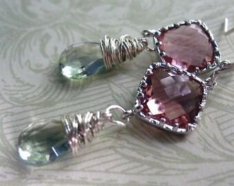 Gemstone Earrings, Cushion Cut Gemstone , Wirewrapped, Prasiolite Green Gemstone, Green Amethyst Stones, Sterling Silver Dangle Drop Earring