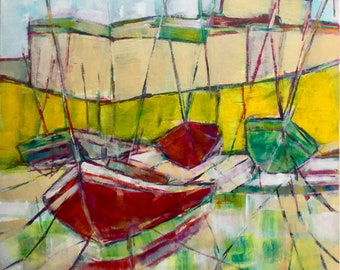 Cornwall, low tide 2, abstract acrylic painting, contemporary