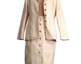 ESCADA Margaretha Ley 100% Cotton Twill BEIGE Skirt Blazer Suit Set