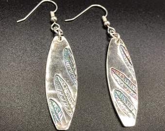 Fine silver oval earrings with liriope leaves impressed