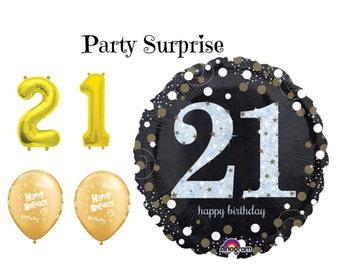 21st Birthday Balloon, 21st Birthday Party Balloon Black Gold White Sparkle Holographic Balloons