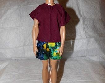 Motif poisson shorts de bain & chemise vin solide pour les poupées de mode masculin - kdc73