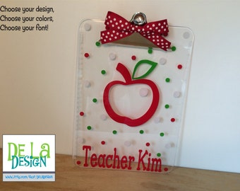 Personalized with name clear acrylic Clipboard, teacher apple or other design, polka dots, back to school gift
