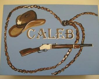 personalized,hand painted,cowboy,keepsake box,blue,brown,bible verse,baby's memory box,cowboy boot, hat,gun,children's memory box,kids boxes