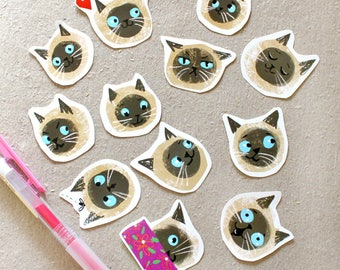 Siamese Cat Stickers Fun Pack of cat face emoji stickers, journaling, planner, stationery art cat labels by Tascha