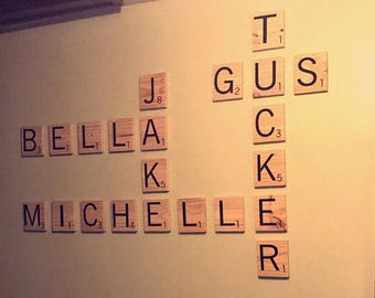 Large Scrabble Letters - Choose from 3x3 and 5x5 - Hand Painted