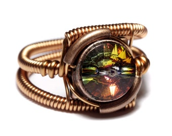Steampunk Jewelry - Ring - Copper with Volcano Swarovski Crystal