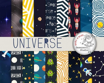 Space papers, cosmos, universe, world, stars, planets, rockets, planet papers, Galaxy digital paper, Stars background, planner sticker