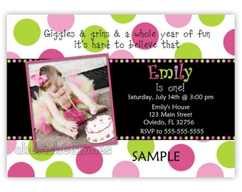 Dots Bithday Party Girl Invitation