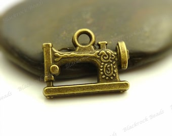 Bulk 18 Sewing Machine Charms (Double Sided) 15x20mm Antique Bronze Tone Metal - BA18