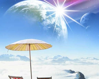 Arctic Beach Chairs and Umbrella - surreal image of earth like planet and two moons over snowy landscape on top of a mountain