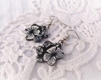 black and white flower earrings