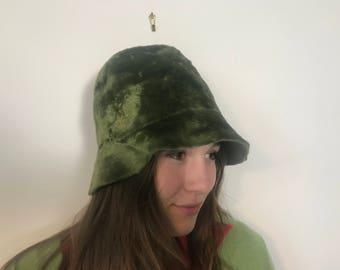 Vintage Italian Velvet Green Bucket Hat
