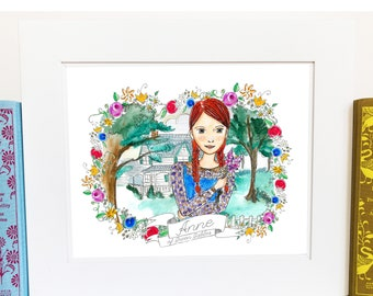 Anne of Green Gables Art - literary gifts - illustrated - AOGG