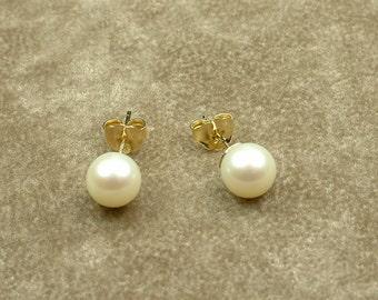 White Akoya Pearl Stud Earrings 7 - 7.5 mm (Σκουλαρίκια με Λευκά Μαργαριτάρια Akoya 7 - 7.5 mm)