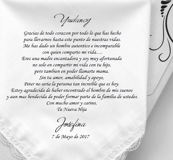 Wedding Gifts For Mother In Law: Spanish Version For Mother In Law Wedding Gifts Printed