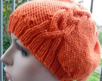 Pure Wool Orange Beret  -  13107