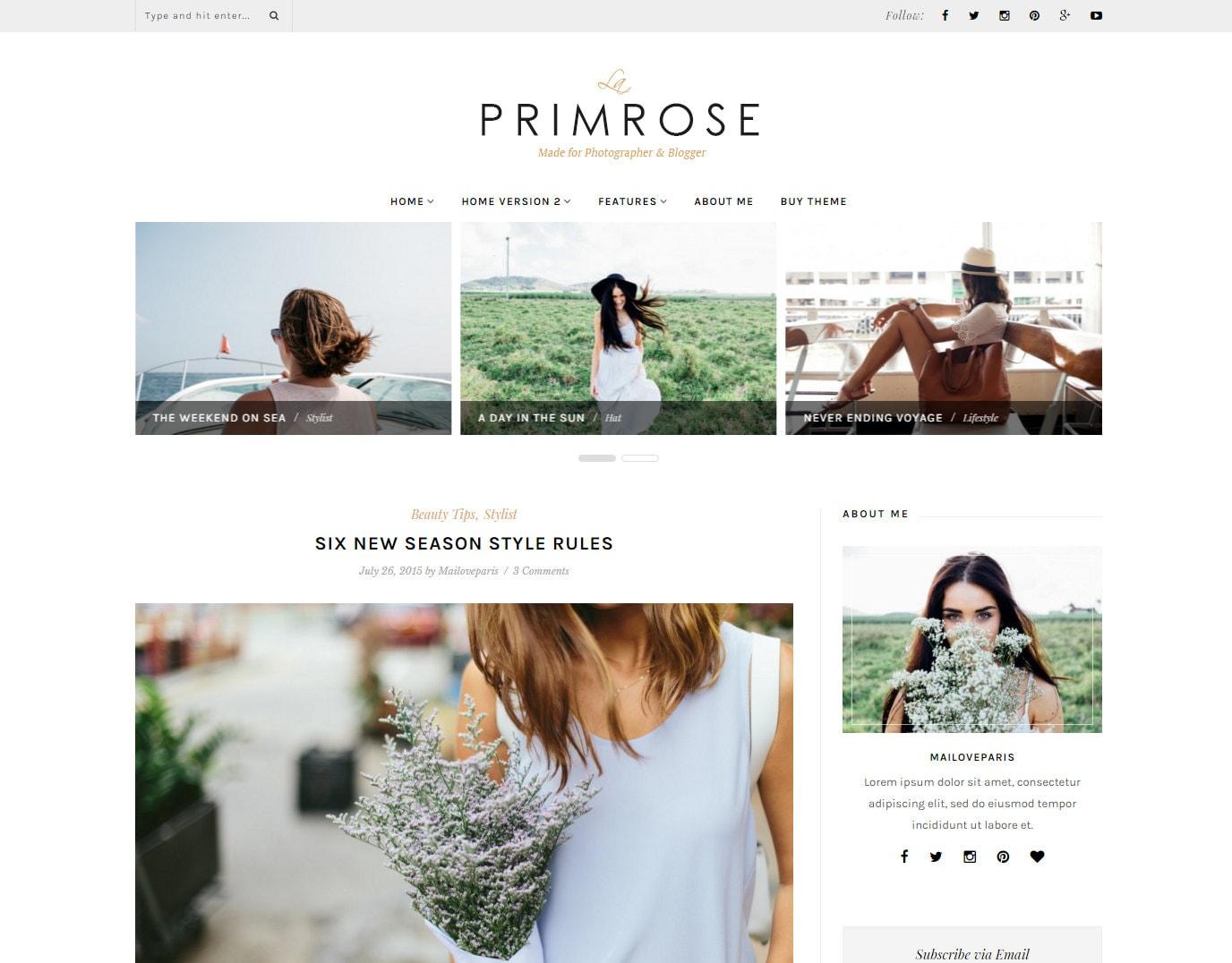 Wordpress theme wordpress template Feminine wordpress theme