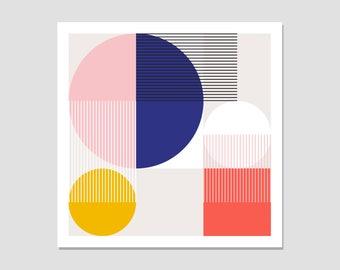 Colour block art, square geometric print, minimalist print, modern wall art, bold shape print, abstract geometric, square poster, square art