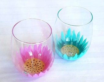 Hand painted beautifully vibrant starburst flower stemless wine glasses