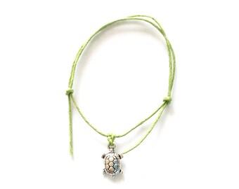 For Emma 10 TURTLE Friendship Bracelet - Green Cord - Summer Holiday