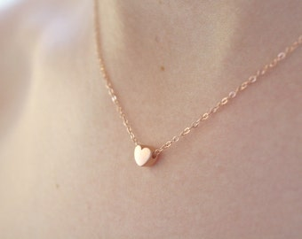 Rose Gold Necklace, Heart Necklace, Couples Necklace, Dainty gold necklace, anniversary gift Valentines Day Gift, Love Gift, Birthday gift