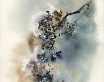 Snowy Branch ORIGINAL Watercolor Painting, Modern Abstract Botanical Painting, Abstract Realism Painting