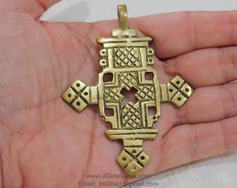 Gold Brass Ethiopian Coptic Cross Jewelry Pendant Near 3.5 inches Large African Cross Pendants Religious Jewelry Making Supplies