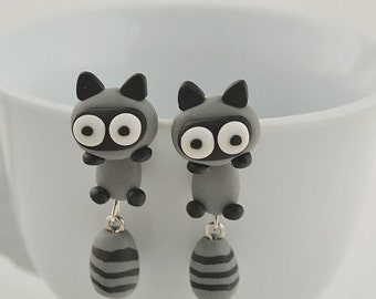 SALE!! - Raccoon Earrings Polymer Clay Hand Made 3D Animal Cat Gray/Black Gift