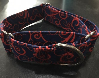 Blue With Red Scroll Fabric Wrapped Martingale