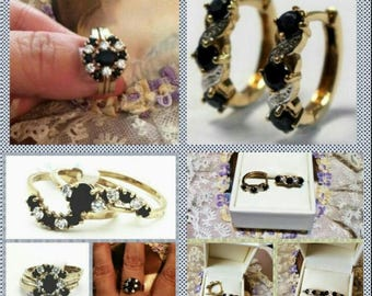 Wedding Set, Exquisite 3 Rings Set, Sapphires & Diamonds Ring And Earrings Set Special, 9K Gold Matching Set or Sold Separate, Sale