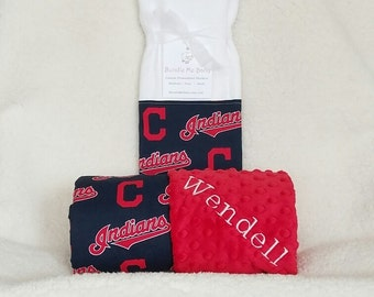 Cleveland Indians Baby Blanket Minky Name Embroidered Gift Set Large Minky PERSONALIZED Baby Boy Girl Bedding