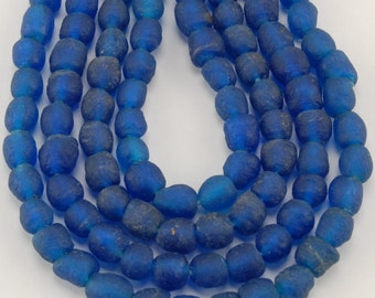 African Recycled Bottle Glass Beads - Cobalt Blue