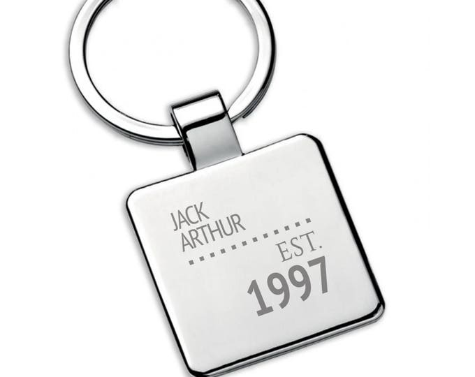 Personalised engraved 21ST BIRTHDAY SQUARE metal keyring gift, established - 5580ES21