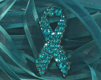 Teal Awareness Ribbon - Ovarian Cancer  - Agoraphobia - Anxiety Disorder - Uterine  - Tourette's Syndrome - OCD - Fundraising - Cervical