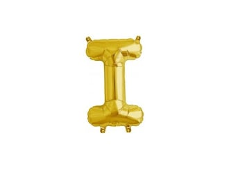 """Letter I - Gold 16"""" Mylar Letter Balloon, Wedding, Bridal Shower, 1st Birthday, Photo Prop, Name Banner, Baby Shower, Baby Name, Party"""