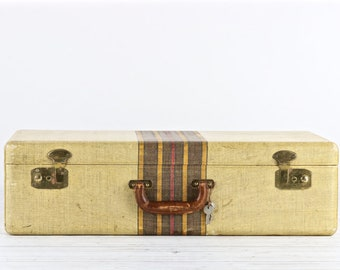 Vintage Suitcase Retro Suitcase Tweed Suitcase Old Suitcase Old Luggage Vintage Luggage Striped Suitcase Wedding Decor Rustic Decor