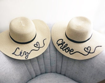 Customizable / Personalized Adult Floppy Straw Sun Hat / gift for her / wedding gift / bridesmaid gift / honeymoon / bridal shower gift