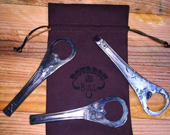 Upcycled Bottle Opener from Knife Handle, Forge Fired Upcycled Bottle Opener, Bar Gift, Man Gift, Blacksmith Bottle Opener
