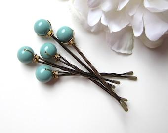 Jade Green Bobby Pins, Wedding Hair Pin Set