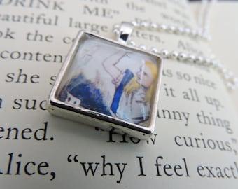 Alice In Wonderland ALICE Silver Tray Pendant Necklace