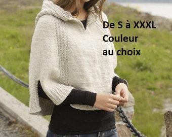Poncho femme  avec capuche en laine, tricoté main, chauffe épaules, châle, cadeau anniversaire Noël, printemps, automne hiver, alpaga