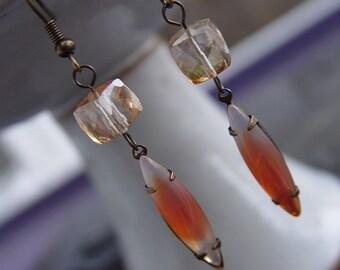 Vintage Jewel and Citrine Gemstone Earrings