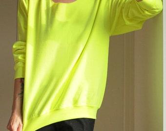 Offshoulder Sweatshirt Off The Shoulder Off Shoulder Top Off Shoulder Oversized Sweater Slouchy Sweater Womens Sweater Sweatshirt Neon