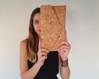 Cork Clutch-Gold Clutch-Eco Friendly Purse-Vegan bag-Handmade bag-Gift for Her-Vegan Gift-Cork Bag-Cork Purse-Unique bag-Envelope Bag
