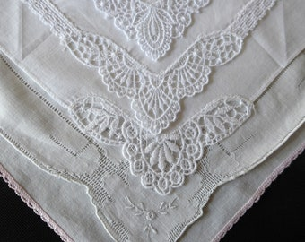 Five vintage white cotton handkerchiefs