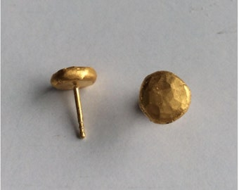 Forged stud earrings fine silver gold plated